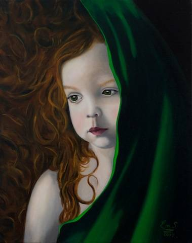 The girl with the green scarf  2009  40cm x 50cm