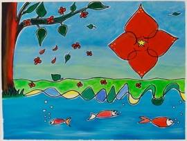 The red flower 2008 50cm x 65cm